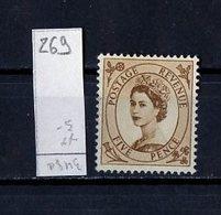 Grande Bretagne - Great Britain - Großbritannien 1952-54 Y&T N°269 - Michel N°264 Nsg - 5p Reine Elisabeth II - 1952-.... (Elizabeth II)