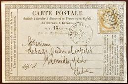 FRANCE 1874: Cérès 15C Bistre Jaune N° 55 Sur CP Avec O 1682 GOURNAY-EN-BRAYE 6 AVRIL 74 Pour ROMILLY-S-SEINE 7 AVRIL 74 - 1871-1875 Cérès
