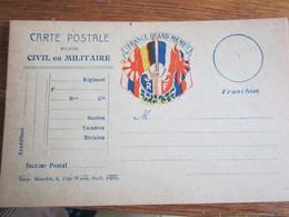 736            CARTE POSTALE CIVILE OU MILITAIRE - Franchise Militaire (timbres)