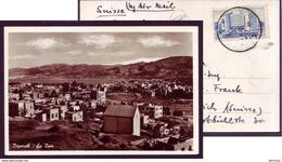 Liban Beyrouth Beirut La Baie B/w Photo Postcard 1951 With Lebanon Stamp - Israel