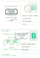 1996 - LOT De 2 CARTES ESPERANTO : 81° CONGRES UNIVERSEL À PRAGUE + UN PONT ENTRE LES PEUPLES AMIENS - Esperanto