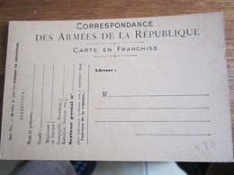 736            CARTE FRANCHISE DEA ARMEES FRANSAISE - Franchise Militaire (timbres)