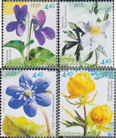 Estonia 481-484 (complete Issue) Unmounted Mint / Never Hinged 2004 Flowers - Estonia