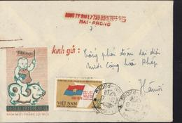 YT Viêt Nam Dan Chu Cong Hoa 1960 1970 Drapeau Enveloppe Illustrée Tan Hoi Nam Moi Thang Loi Moi Enfant Cochon - Vietnam