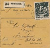 Deutsches Reich - 1922 - 20M + 10M Mixed Franking On Paketkarte From Kaiserslautern To Mannheim - Briefe U. Dokumente