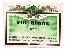 Etiquette Vin Blanc Chateaumeillant Beaumerle Lanoix Maurice - Blancs