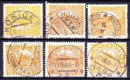 Tchécoslovaquie 6x Cachets Diff Sur Les Timbres Hradchin - Tchécoslovaquie