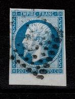 YV 14A Petit Bord De Feuille Oblitéré , 4 Marges , Pas Aminci - 1853-1860 Napoleon III