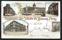 CARTOLINA CV2360 ARGENTINA Un Saludo De Buenos Aires, Tipo Gruss Aus, 1906, Viaggiata Per L'Italia, Formato Piccolo, Ott - Argentina