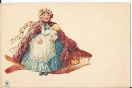 CPA -Carte Illustrée - Femme  Chevauchant  Un Poisson - Illustration - Jockey - 1900-1949