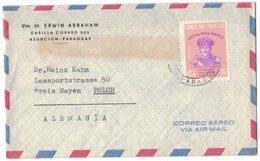 AE245  PARAGUAY. PA 366 Of 1963 On Envelope Traveled To Germany. President Stroessner. - Paraguay