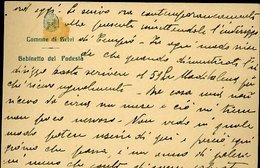 V1 COMUNE DI BELVI' , GABINETTO DEL SINDACO , LETTERA 1930 CIRCA, SOLO TESTO - Cartoncini Da Visita