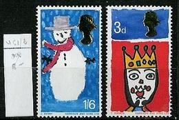Grande Bretagne - Great Britain - Großbritannien 1966 Y&T N°461 à 462 - Michel N°442 à 443 *** - Noël - 1952-.... (Elizabeth II)