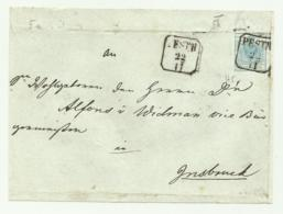 FRANCOBOLLO 9  KREUZER PESTH  1856 SU FRONTESPIZIO - 1850-1918 Impero