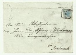 FRANCOBOLLO 9  KREUZER  1856  SU FRONTESPIZIO - 1850-1918 Impero