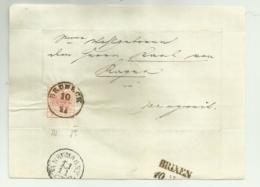 FRANCOBOLLO 3  KREUZER BRUNECK   1857  SU FRONTESPIZIO - Usati