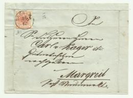 FRANCOBOLLO 3  KREUZER BRUNECK    1856  SU FRONTESPIZIO - Usati