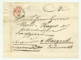 FRANCOBOLLO 3  KREUZER BRUNECK    1858  SU FRONTESPIZIO - Usati