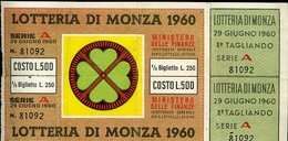 V2 LOTTERIA DI MONZA 1960 - Billets De Loterie