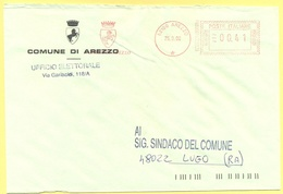 ITALIA - ITALY - ITALIE - 2002 - 00,41 EMA, Red Cancel - Comune Di Arezzo - Viaggiata Da Arezzo Per Lugo - Affrancature Meccaniche Rosse (EMA)