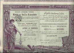 MINES DE BALIA-KARAIDIN - TURQUIE - LOT DE 5 ACTIONS ILLUSTREES - ANNEE 1926 - Mines