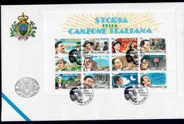 SAN MARINO 1996 - STORIA DELLA CANZONE ITALIANA FOGLIETTO - FDC - FDC