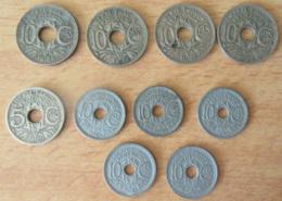 France - Lot De 10 Monnaies 5 à 10 Cts Lindauer - Millésimes Peu Courants - 5 Cts 1920 Et 10 Cts 1924 / 1928 / 1945 C - Francia