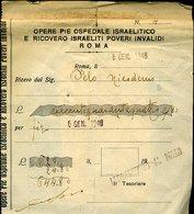 V4 Juive Jewish , RICEVUTA OPERE PIE OSPEDALE ISRAELITICO ROMA  , RICOVERO ISRAELITI POVERI INVALIDI - Italia