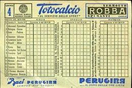 V5 SCHEDINA TOTOCALCIO 1958 CONCORSO N° 4 , PUB. PERUGINA - Diplomi E Pagelle