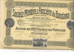 SOCIETE MINIERE ET FONCIERE DU BANDAMA -COTE D'IVOIRE -LOT DE 4 ACTIONS DE 100 FRS - ANNEE 1919 - - Mines