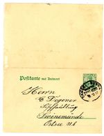 """P 81 Antwort PK Bahnpoststempel """"CASSEL-BEBRA"""" 1812 Nach Swinemünde - Allemagne"""