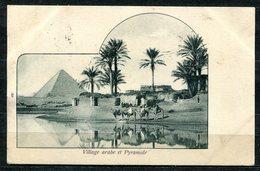 CARTOLINA CV2387 EGITTO EGYPT Village Arabe Et Pyramide, 1901, Viaggiata Per L'Italia, Formato Piccolo, Francobollo Aspo - Altri