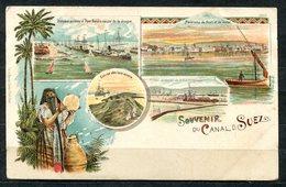 CARTOLINA CV2388 EGITTO EGYPT Souvenir Du Canal De Suez, Tipo Gruss Aus, 1901, Viaggiata Per L'Italia, Formato Piccolo, - Suez