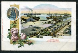 CARTOLINA CV2389 EGITTO EGYPT Quai D'Alexandrie, Tipo Gruss Aus, 1900, Viaggiata Per L'Italia, Formato Piccolo, Francobo - Alexandria
