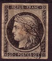 N°3 20c Noir Sur Jaune Oblitéré - 1849-1850 Ceres