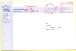 ITALIA - ITALY - ITALIE - 2002 - 00,41 EMA, Red Cancel - Comune Di Cotignola - Viaggiata Da Cotignola Per Lugo - Affrancature Meccaniche Rosse (EMA)