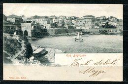 CARTOLINA CV2397 LIBANO LIBAN Raz Beyrouth, 1902, Viaggiata Per L'Italia, Formato Piccolo, Francobollo Asportato, Ottime - Libano