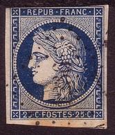 N° 4 : 25 Centimes Cérès Bleu Oblitéré - 1849-1850 Ceres