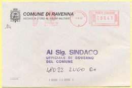 ITALIA - ITALY - ITALIE - 2002 - 00,41 EMA, Red Cancel - Comune Di Ravenna - Viaggiata Da Ravenna Per Lugo - Affrancature Meccaniche Rosse (EMA)