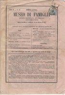 """Journal """"MUSEO DI FAMIGLIA"""" Avec 15Cmi Vert Olive De 1863 Seul Sur Document Oblt MILANO - Marcophilie"""
