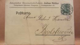 DR: Postkarte Mit 5 Pf Germania Von ARNSTADT Nach BISCHOFSWERDA 14.6.12 Knr: 85 I  -Privat-Druck: Julius Möller Arnstadt - Germania