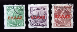 1909 Crète Yt 76, 77, 78 .Hermes .Artemis . Britomaris  Oblitérés - Crète