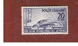 ITALIA REPUBBLICA - UN. 617    -   1950   SALONE AUTOMOBILISTICO DI TORINO       - NUOVI LINGUELLATI (UNUSED) * - 1946-60: Mint/hinged