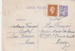 Yvert 651 CP1 Entier Oblitération Poste Rurale Cachet Hexagonal VERNON Eure 1945 Pour Maison Arrêt Rouen - Biglietto Postale