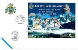 SAN MARINO  2003 - CAMPIONATI SCI NORDICO FOGLIETTO  - FDC - FDC