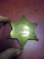 VERITABLE INSIGNE - ETOILE Ancienne MARSHAL SHERIFF UNITED STATES USA - Poids 37 Grammes Métal Laiton - Politie & Rijkswacht
