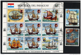 PARAGUAY 1983, VOILIERS ET PORTRAITS NAVIGATEURS, Feuillet De 5 Valeurs + 2 Valeurs, Oblitérés / Used. R995Flt - Ships