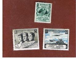 ITALIA REPUBBLICA - UN. 699.701 - 1952  GIORNATA DELLE FORZE ARMATE (SERIE COMPLETA DI 3) - NUOVI LINGUELLATI (UNUSED) * - 6. 1946-.. Republic