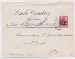 LETTRE EMILE CAMBIER SUCCESSEUR BELGIQUE CACHET CONTROLE MILITAIRE ATH MILITÄRISCHE ÜBERWACHUNGSSTELLE WW1 BRIEF GILLY - Guerre 14-18