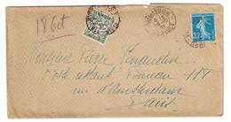 1921 - LETTRE AFFRANCHIE SEMEUSE 25c TAXÉE À 20c TIMBRE TAXE N° 31 De PUIMISSON HERAULT Pour PARIS - Marcophilie (Lettres)